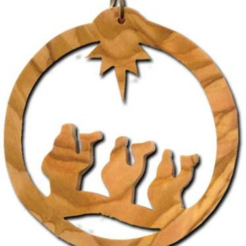 Desert Rose Olive wood ornament for Christmass tree - three wise men in circle
