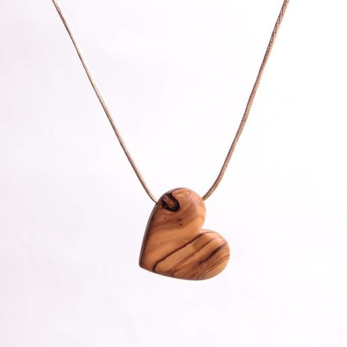 Desert Rose Necklace with an olive wood heart