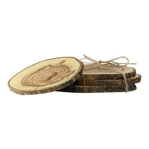 Desert Rose Wooden coasters, unique and handcrafted, set of 4