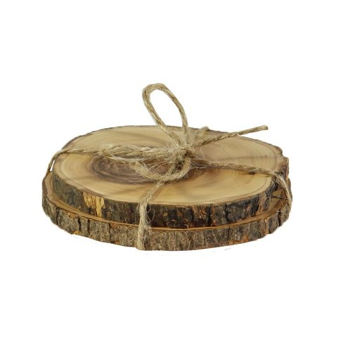 Desert Rose Luxurious set olive wood coasters, set of 2 - diameter from 7,5 cm