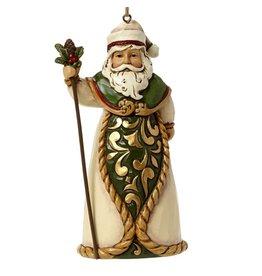 Jim Shore (Heartwood Creek) Jim Shore Green and Ivory Santa - kerstboomhanger
