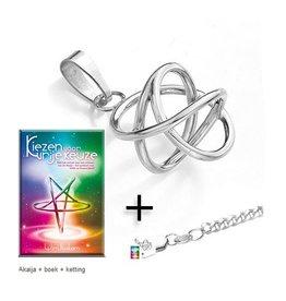 Zilveren Akaija + boek + ketting