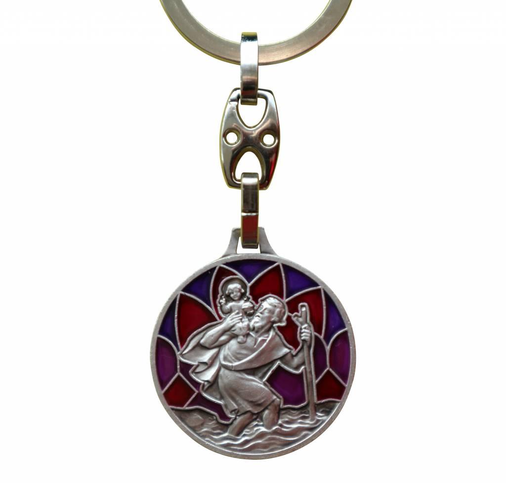 Christoffel sleutelhanger rood-paars
