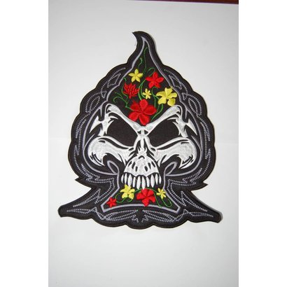 Spade with flowers and skull