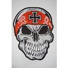 Skull with Orange bandana and Cross 499 R