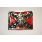 3-D Rebel Flag Cow Skull pin