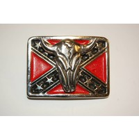 3-D Rebel Flag Cow Skull pin