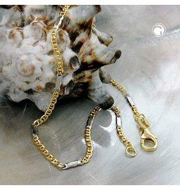 Gallay Armband, Stegpanzer, bicolor, 9Kt GOLD