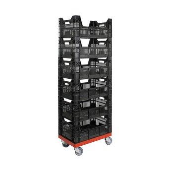 Rolling Storage System met 6 bakken (afm. 600x400x1.410 mm)
