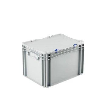 Basicline euronorm stapelbak met vast scharnierend deksel afm. 400x300x285 mm