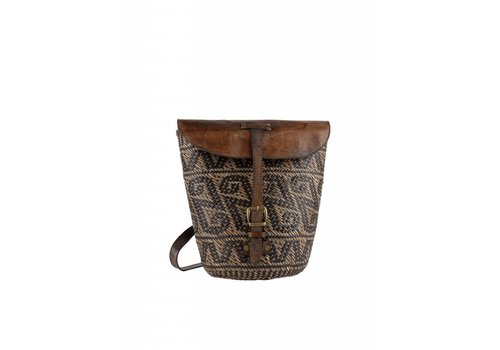 Rattan leather backpack