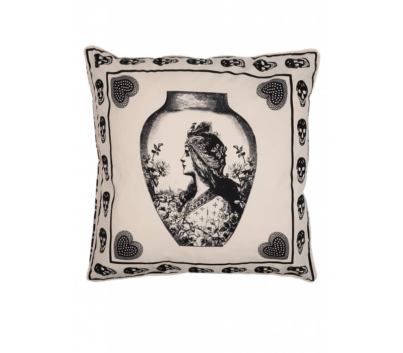 Antique skull cushion ǀ Femme Riche ǀ Black & white