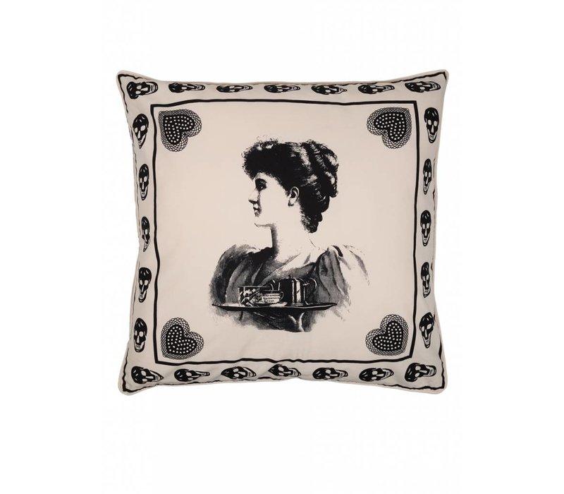 Antiek skull sierkussen ǀ Femme Nouveau ǀ Zwart wit