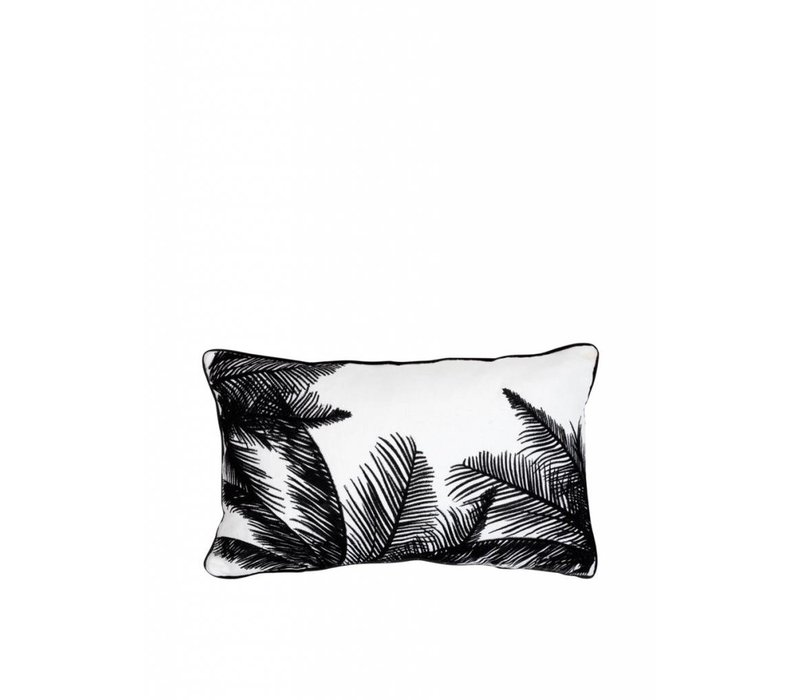 Embroidered palm tree cushion ǀ 50x30 ǀ White