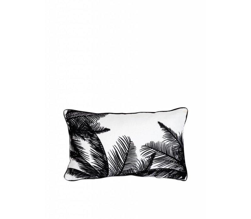 Zwart Wit Geborduurd Palmboom Kussen ǀ 50x30 cm