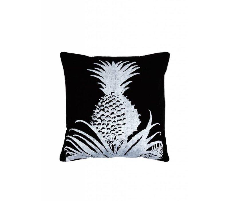 Linnen Zwart Wit Kussen met Ananas ǀ 50x50 cm