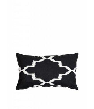 'Ikat' Zwart Wit Kussen ǀ 50x30