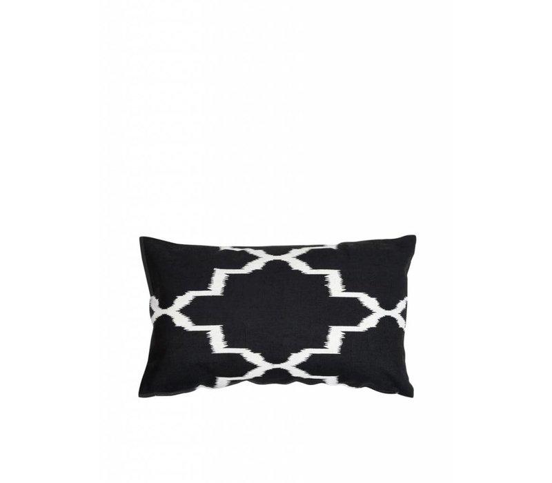 'Ikat' Zwart Wit Kussen ǀ 50x30 cm