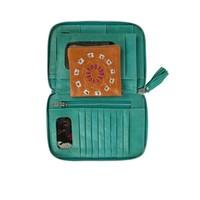 Leer gevlochten Turquoise Portemonnee Mahiya Leather
