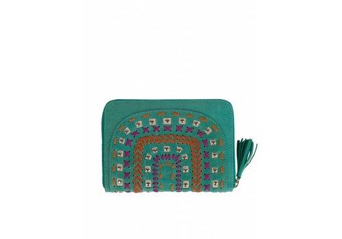 Mahiya Leather Turquoise Leren Portemonnee | Tallara