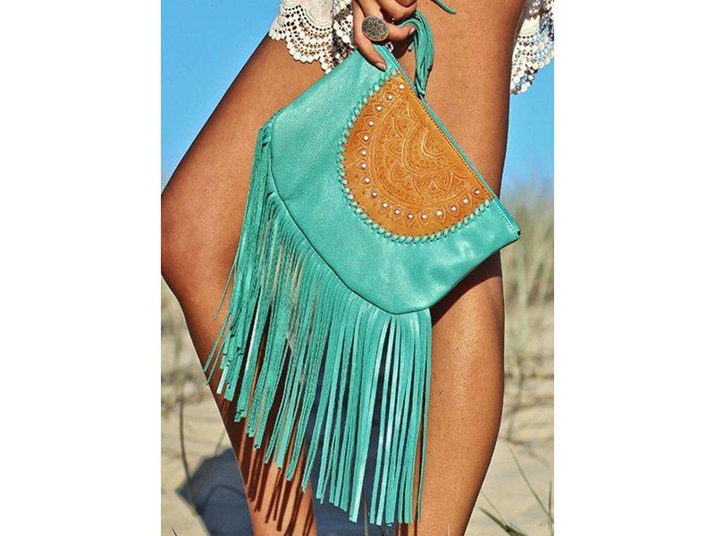 Mahiya Leather Bohemian Turquoise Leren Clutch    Mahiya Leather