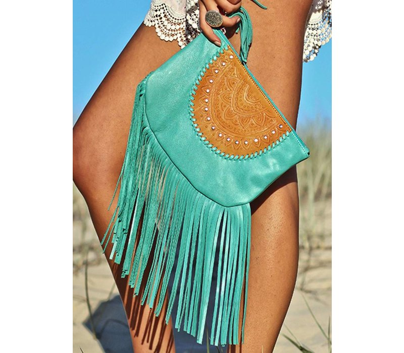 Turquoise Leather Clutch | Skyla | Mahiya Leather