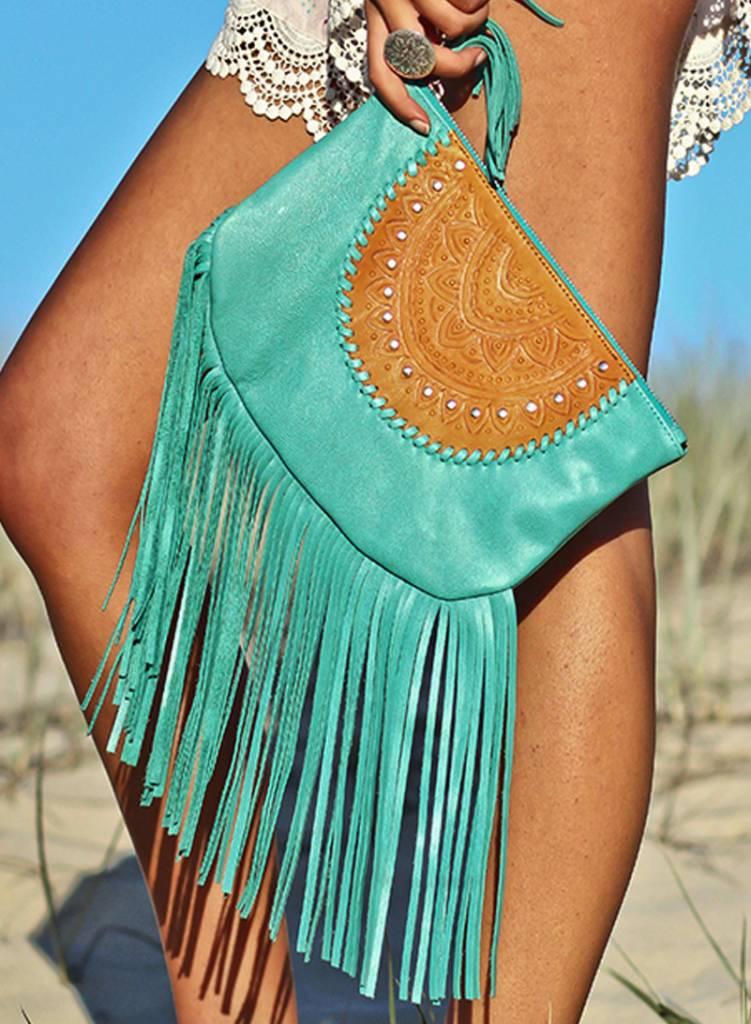 Mahiya Leather Leren Clutch | Skyla | Turquoise
