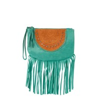 Bohemian Turquoise Leren Clutch |  Mahiya Leather