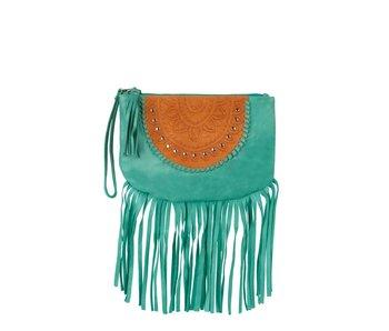 Mahiya Leather Turquoise Leren Clutch | Skyla