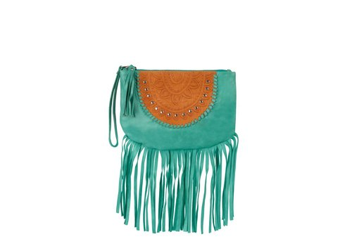 Mahiya Leather Turquoise Leren Clutch | Skyla
