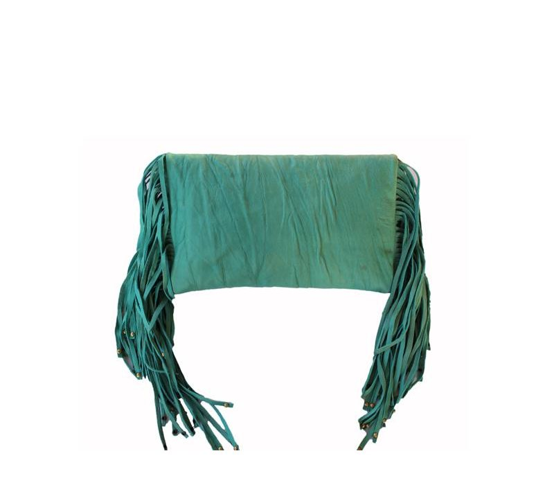 Turquoise Boho Chic Leren Clutch met Fringe KiVARi Leather