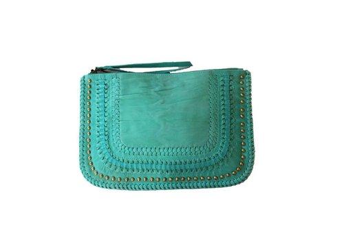 KiVARi Turquoise Leren Clutch | Favella