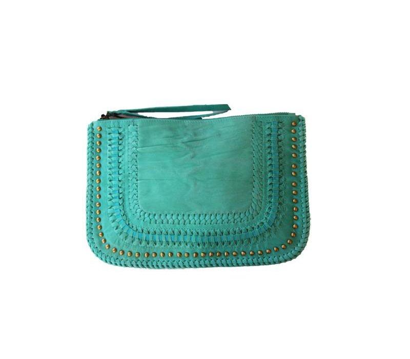 Toffe Turquoise Leren Clutch van KiVARi Leather