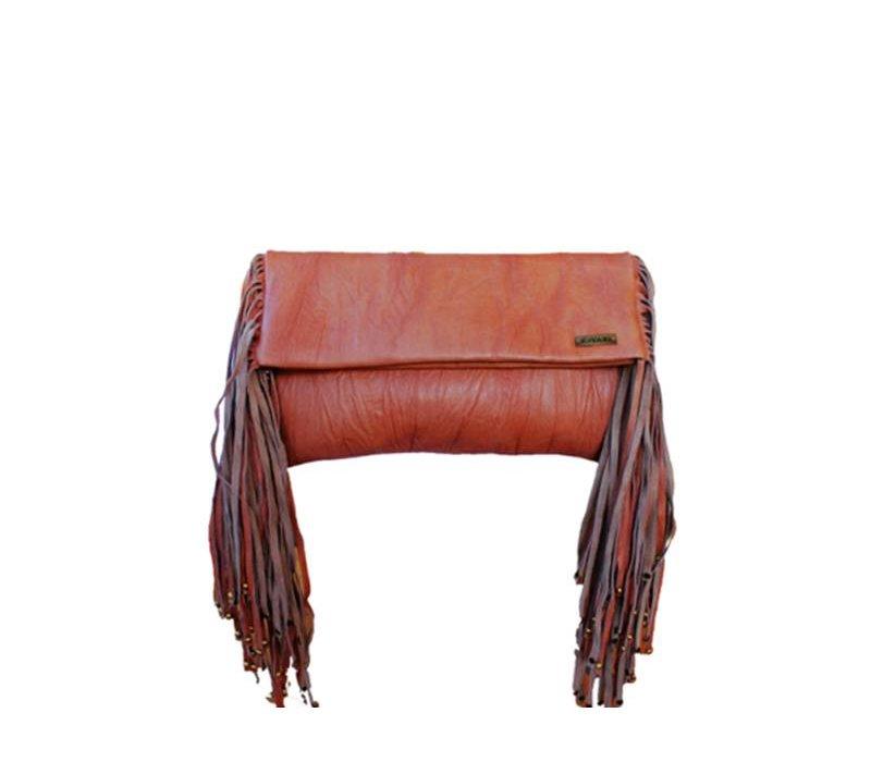 Eindeloze franjes met deze bruin Leren Clutch KiVARi Leather