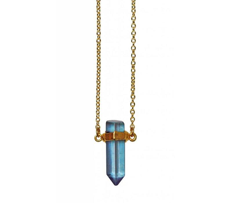 "Layer Necklace Aqua Aura Point  20"""