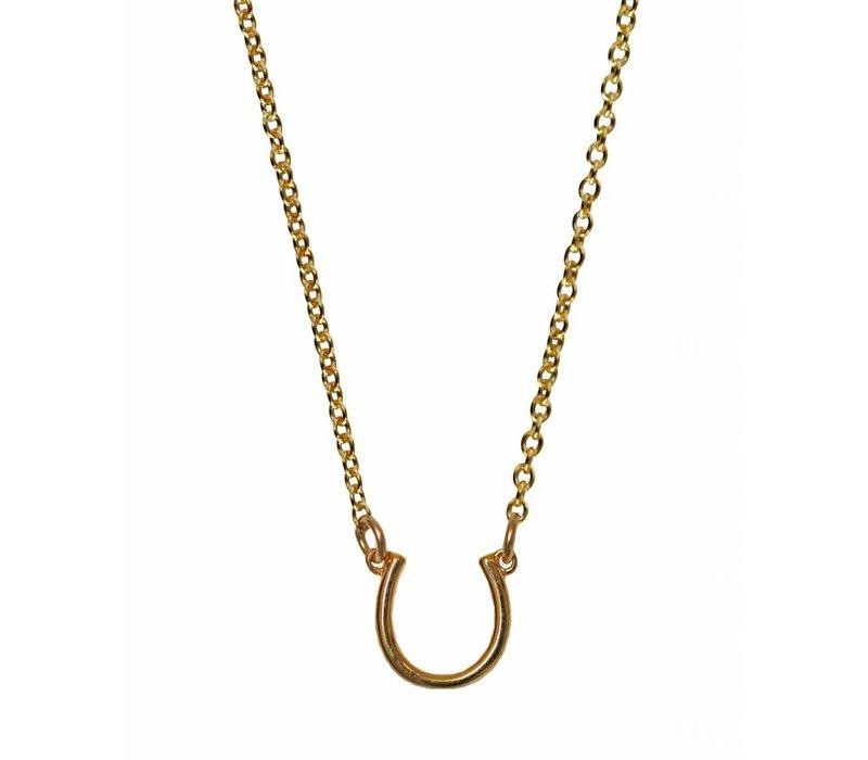 """Layer Necklace Gold Horseshoe 16"""""""