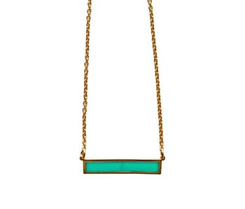 """Keijewelry Gouden Turquoise Staaf Ketting 18"""""""
