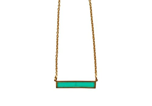 Keijewelry Gouden Turquoise Staaf Ketting 18""