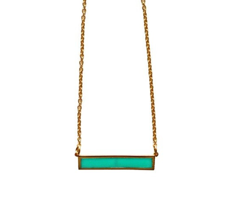 Layer Necklace Turquoise Bar 18""