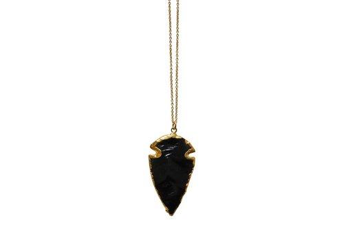 """Keijewelry Layer Necklace Black Obsidian Arrowhead 30"""""""