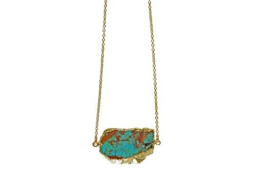 "Keijewelry Raw Turquoise Ketting 18"""