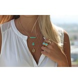 Keijewelry Toffe Gouden Ketting met Turquoise Staaf 18 inch