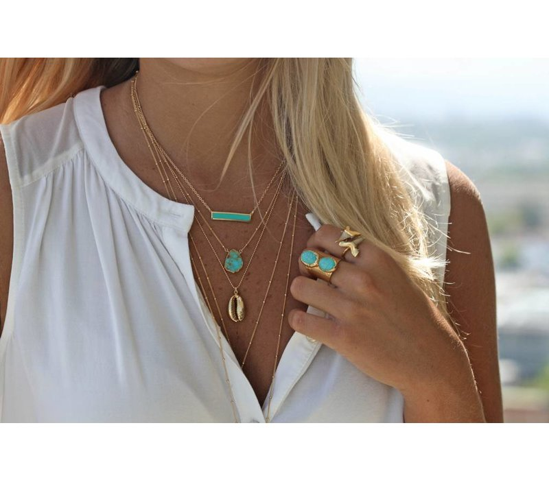 Toffe Gouden Ketting met Turquoise Staaf 18 inch