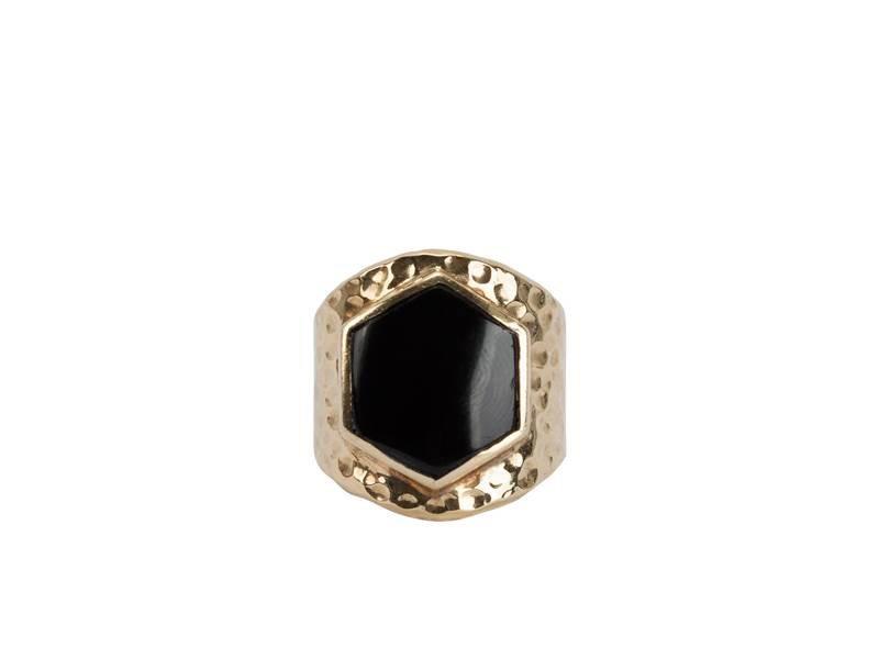 Route508 Grote Gouden Ring met  Black Onyx Edelsteen