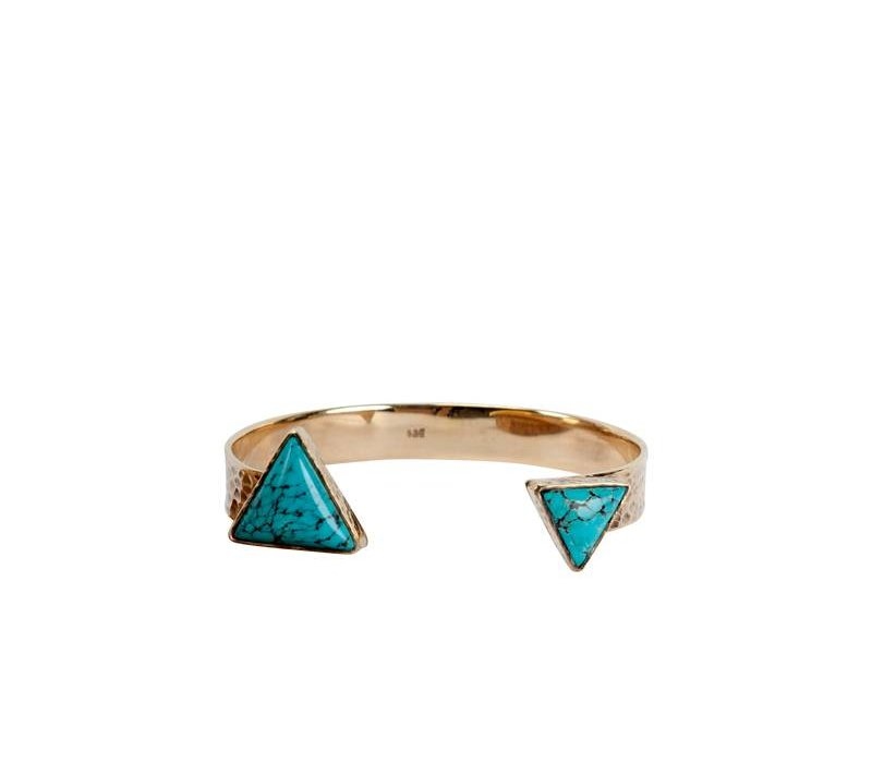 Stijlvolle Verguld Gouden Armband Luna Triangle | Turquoise Edelsteen