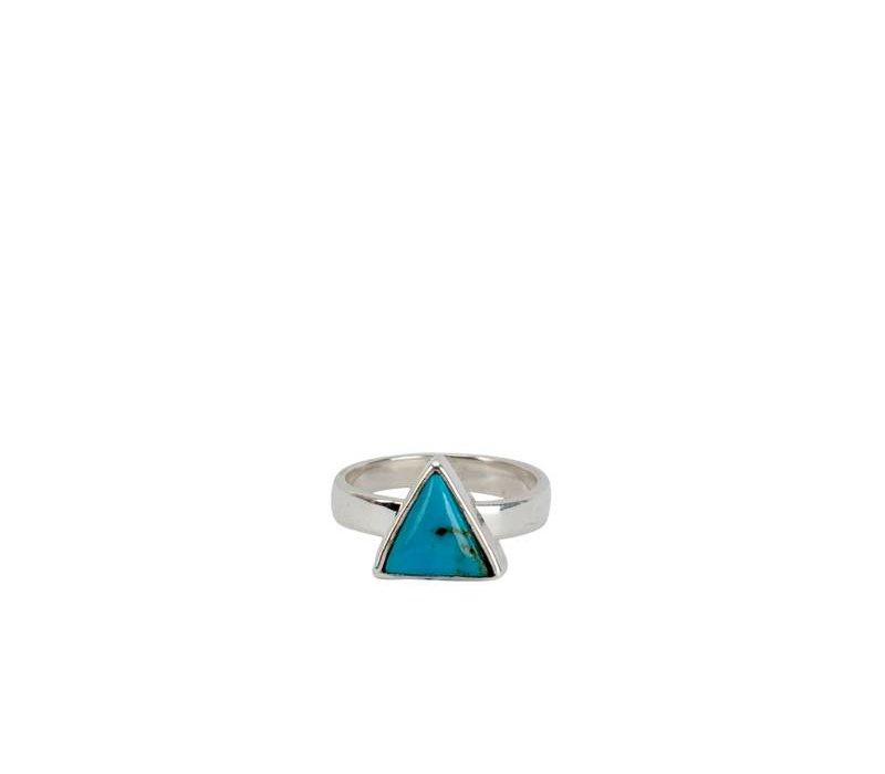 Dubbele Zilveren Ring met Turquoise Driehoek Sim