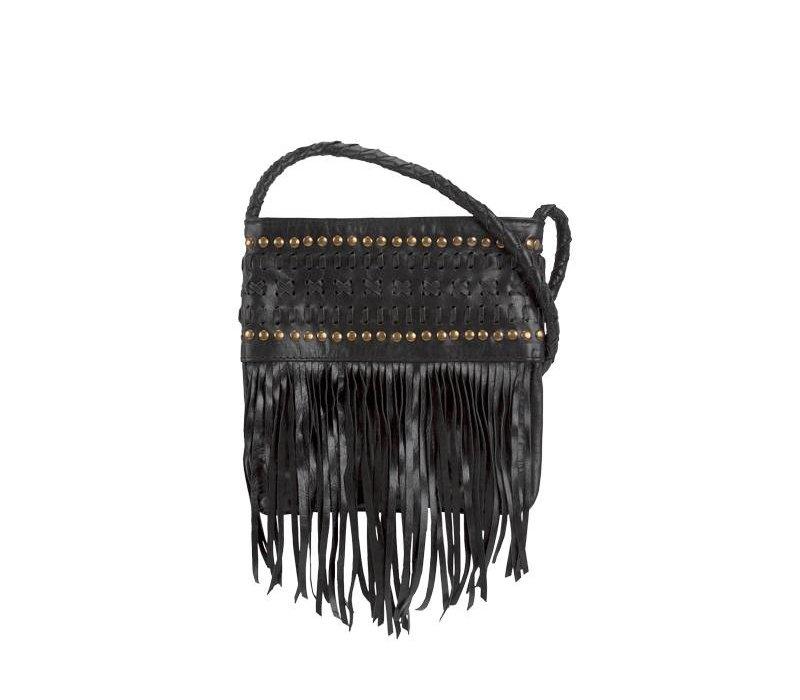 Black Leather Crossbody Bag | Rayn