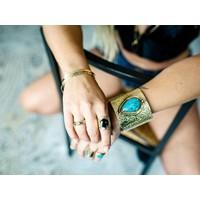 Gold Plated Ring Lynx | Black Onyx