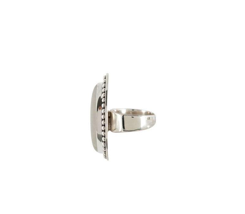 Grote Zilveren Ring  met Moonstone Edelsteen