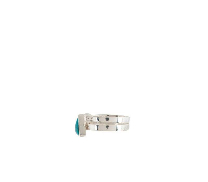 Dubbele Zilveren Ring met Turquoise Driehoek